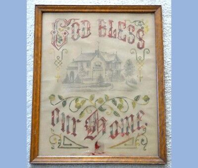 1880 antique ID'd LRG PAPER PUNCH SAMPLER~VICTORIAN HOUSE~GOD BLESS callie bear