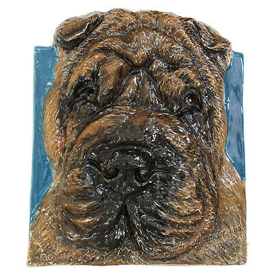 Shar Pei Ceramic dog portrait 3d RELIEF EFFORT FOR MOM by Sondra Alexander Art