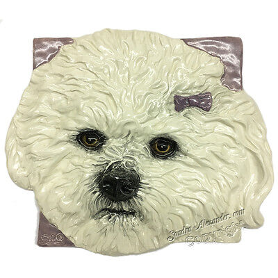 Bichon Frise Ceramic dog Tile Handmade 3d Pet Portrait Sondra Alexander Art