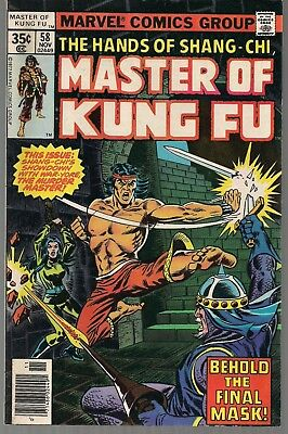 MASTER OF KUNG FU #58 MARVEL 11/77 HANDS OF SHANG-CHI vs THE MURDER MASTER VF