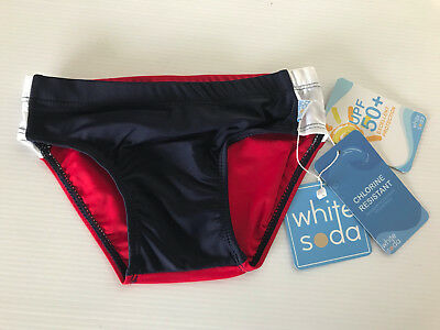 BNWT Boys Sz 2 White Soda Brand Red/Navy Swimming Shorts Trunks Pants Bathers