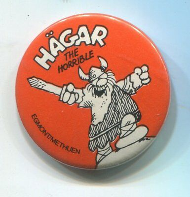 Vtg 1970s Hagar the Horrible 1 1/4 Orange Pin Pinback Egmont/Methuen Comic Strip