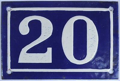 Old blue French house number 20 door gate plate plaque enamel steel sign c1950