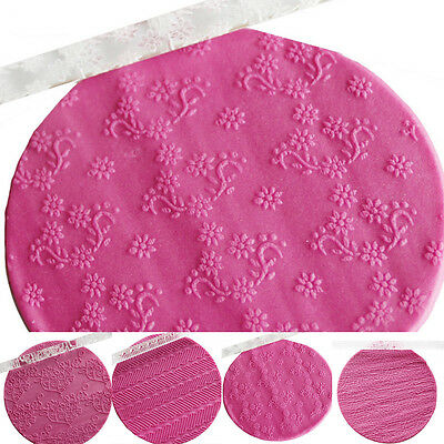 Textured Embossing Acrylic Rolling Pin Fondant Cake Decoration Tools Styles AU