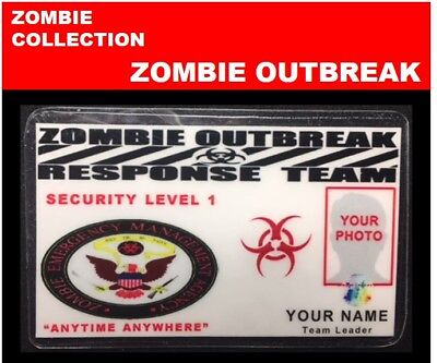 zombie ID collection..ZOMBIE OUTBREAK.. Wallet Card  << RESPONSE TEAM>>
