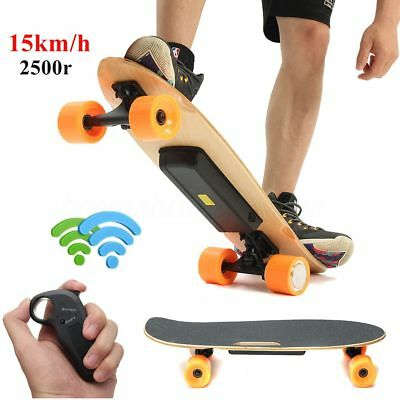 250W Wireless Electric Powered Skateboard 4 Wheels Longboard W/ Remote Control