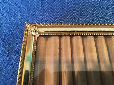 Vintage gold brass metal ornate detail embossed photo picture frame 5x7 easel