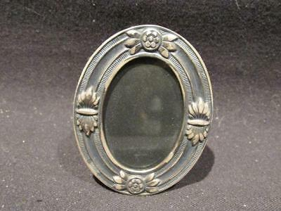 Beautiful Mid-Century Miniature Oval Sterling Silver Ornate Picture Frame