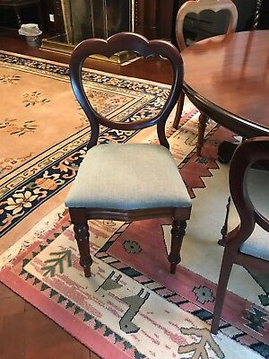 6 Antique Vintage Retro Victorian Solid Wood Mahogany Spoon Back Dining Chairs