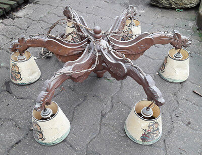 Antique French Luster Wood Carved Gothic Dragons 6 Arms Lamp Chandelier Chimera