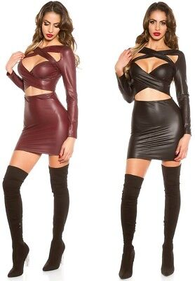 sexy Wetlook Minikleid mit Cut Outs * 34 36 38 * Clubwear Kleid Party Gogo
