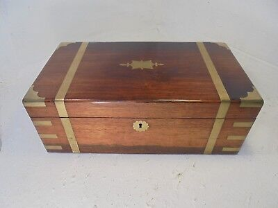 Antique Rosewood Brass Banded  Writing Slope Box , Secret Drawers ref 4359