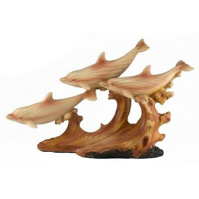 Three Dolphins On Waves Carved Wood Look Figurine Resin 11.25 Inches Long NIB