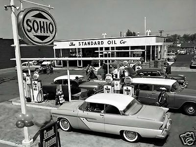 SOHIO STANDARD OIL STATION  PHOTO 50's CHEV, FORD,PLYMOUTH GRAND OPENING