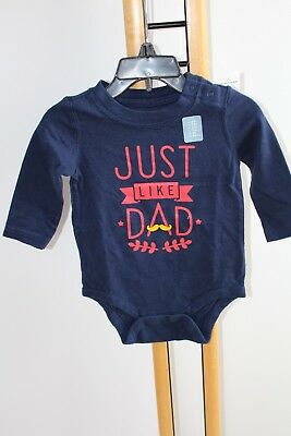 Baby Gap Boys Top Shirt  Bodysuit Just Like Dad blue NWT Size 3-6 Months NEW