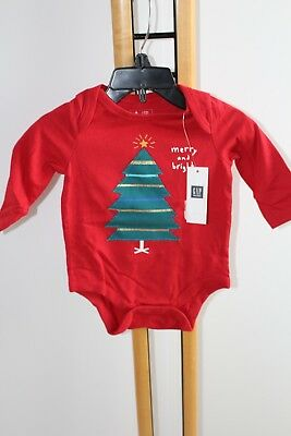 Baby Gap Boys Top Shirt  Bodysuit Christmas Tree Red NWT Size 0-3 Months NEW
