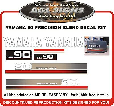 YAMAHA 90 HP PRECISION BLEND  Reproduction Decal Kit