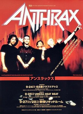 Anthrax Scott Ian 1998 The Threat Is Real Japanese Tour Concert Poster