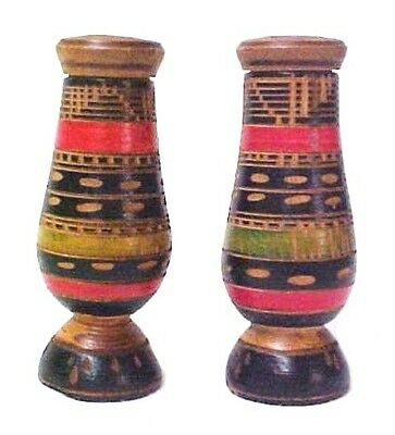 Hand Carved Hand Painted Tribal Wood Salt Pepper Shakers Colorful Ethnic Design