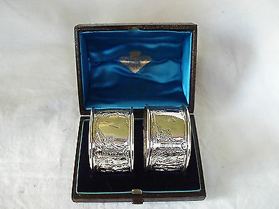 Pr Chinese Decorated Napkin Rings Sterling Silver Glasgow 1883