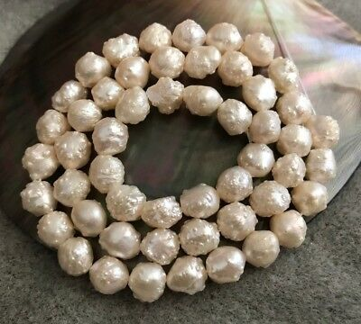 """Pale Champagne Rosebud Pearl Temporary 16"""" Strand, 6½ to 7½+mm Pearls"""