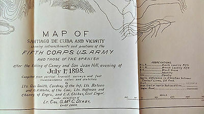 1898 Sketch Map Santiago de Cuba, 5th Army Gen Kent, US Calvary, San Juan Hill