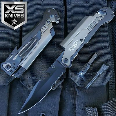"8.75"" MULTI-FUNCTIONAL Tactical Gunmetal Self Defense Rescue Pocket Knife"