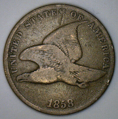 1858 Small Letter Flying Eagle Copper Penny 1 cent US United States Coin VG2