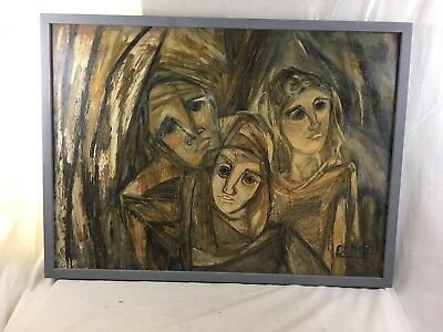 """Great Orig. signed c1960's Gundega Cenne """"The Lonely Ones"""" Oil Painting"""