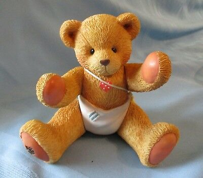 """Jointed 9"""" BABY Teddy Bear Musial Figurine """"Schubert's Lullaby"""" 1993 Hillman"""
