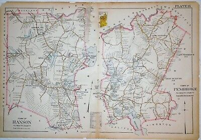 1903 Map Towns of Hanson and Pembroke Plymouth Cty MA Mass Original Atlas Plat