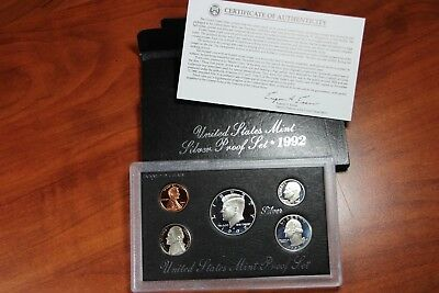 1992 United States Mint Silver Proof Set - 5 coins w/ Box & COA US AC