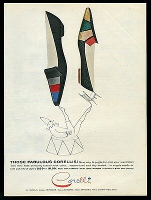 1962 Corelli women's colorful flats shoes 2 styles vintage fashion print ad