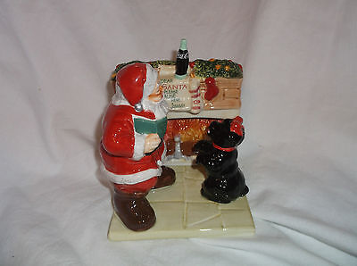 Coca Cola Santa Claus w/ Scottie Dog on Fireplace Base Salt & Pepper Shakers