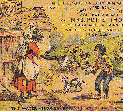 Mrs Potts Sad Iron Enterprise Black Poverty Melon Ethnic Advertising Trade Card