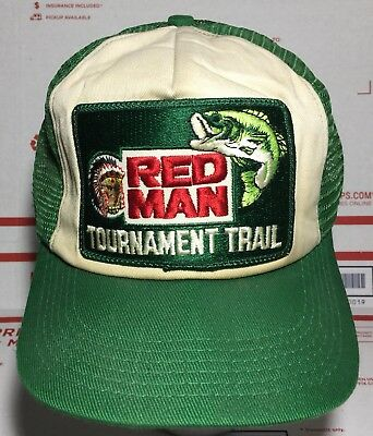 a523d43467f VINTAGE RED MAN CHEWING TOBACCO TOURNAMENT TRAIL Hat Trucker Cap ...