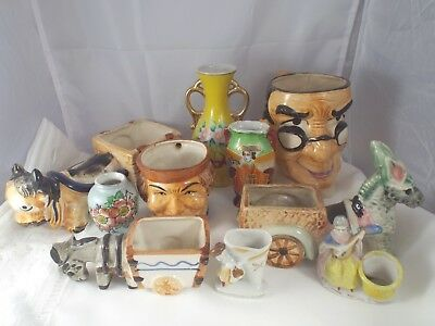 Vintage Lot of Occupied Japan Vases Tobys Toothpick Holders