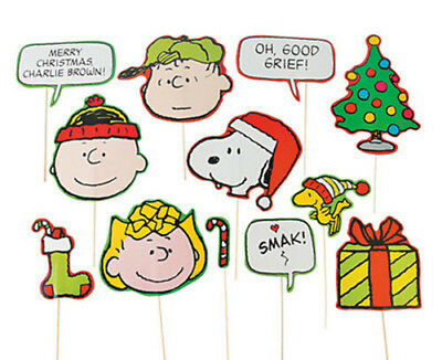 PEANUTS photo booth props 12pcs CHARLIE BROWN SNOOPY WOODSTOCK LUCY Christmas