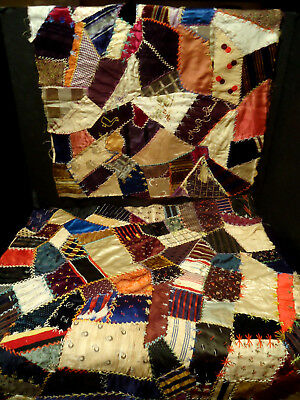 Antique Victorian Crazy Quilt 2 Pieces Cutter Projects Embroidery Textile Study