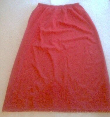 Vintage 60's-70's Red Val Mode Nylon Half Slip,Lace at Bottom-Women's Size Small
