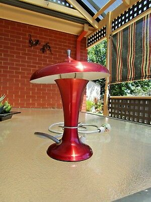 Vintage Retro RED Anodised Lamp ,1960/70's  Flying Saucer Mid Century - $16 POST