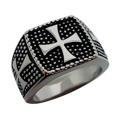 Signet Ring Cross of Malta Templars Stainless Steel Maltese Knight