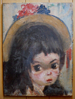 BIG EYED GIRL, STYLE OF CALOGERO, Italian ITALY MODERN MODERNISM Child with Hat
