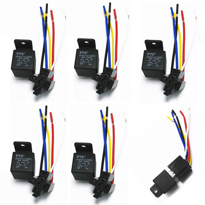 5lots 30/40 Amp 5-Pin SPDT Automotive Relay 12V w/ Wires & Harness Socket