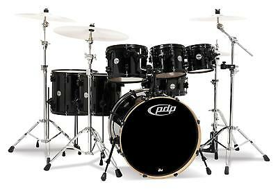 Super DW PDP Concept Maple 7 Rock Pearlescent Black Schlagzeug mit Hardware-Satz