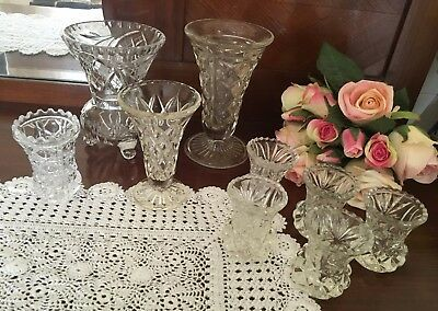 BUD VASES CRYSTAL  10 Vases -  (Various Sizes 6-14.5cm height) - Lovely Cond