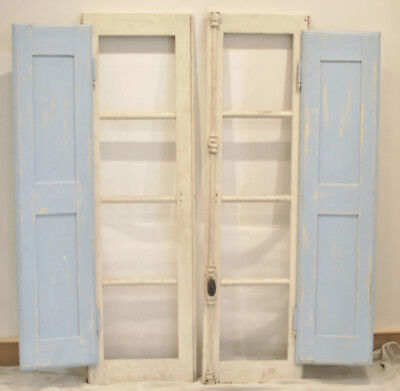 Pair Antique / Vintage French Windows With Shutters