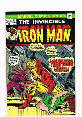 Iron Man # 62  Pepper Dies and whiplash Wins  grade 9.0 scarce book !!