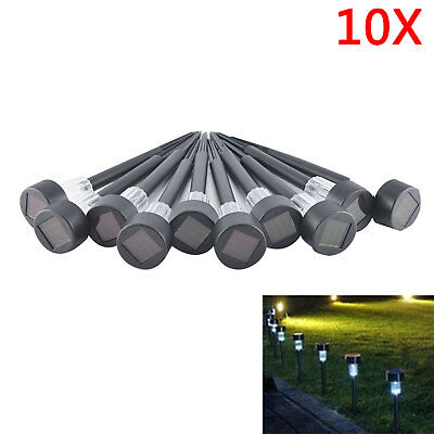 10 X Stainless Steel LED Solar Garden Landscape Path Lawn Lights Yard Lamp AU