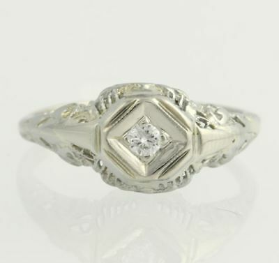 Art Deco Diamond Engagement Ring - 18k & 14k White Gold Solitaire Filigree .05ct